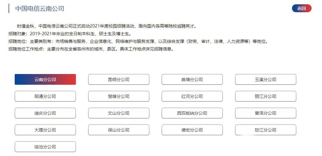 国企|2021年中国电信云南公司招聘154人 正式员工 应往届均可