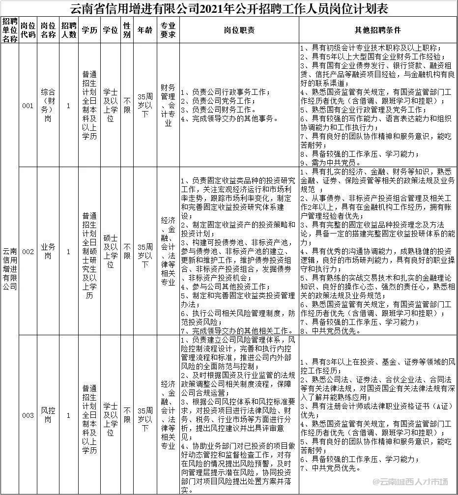 云南省信用增进有限公司2021年招聘公告,年薪10万